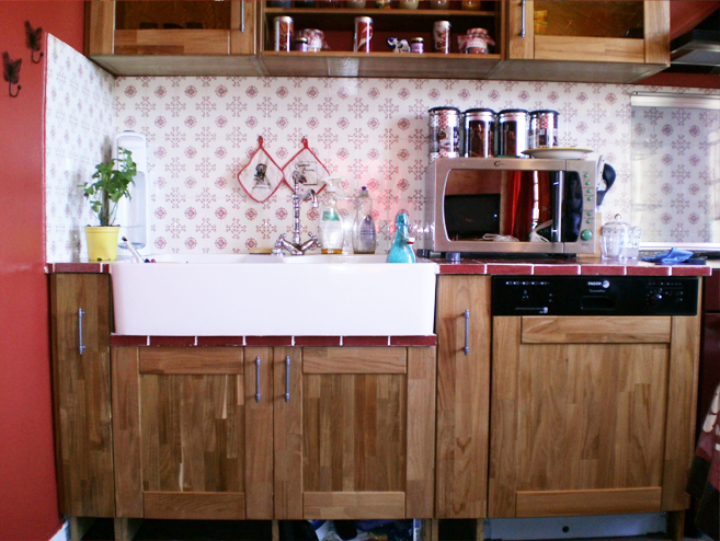 Meuble de cuisine en bois with caisson cuisine bois massif for Caisson de cuisine en bois