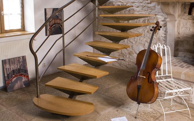 escalier en chêne abouté