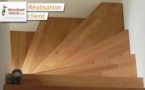 réalisation escalier hêtre abouté quart tournant