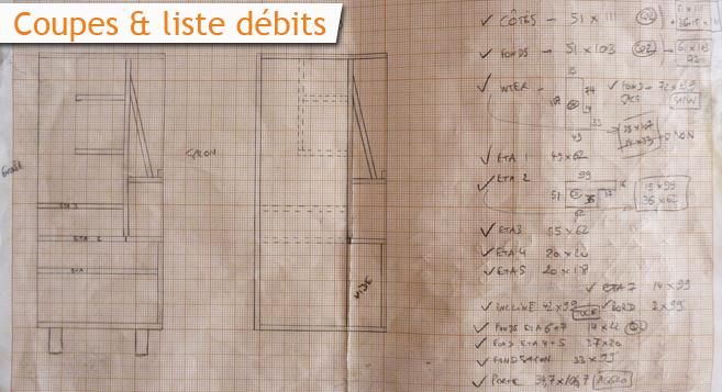 meuble d'entrée en bois - coupes et liste débits