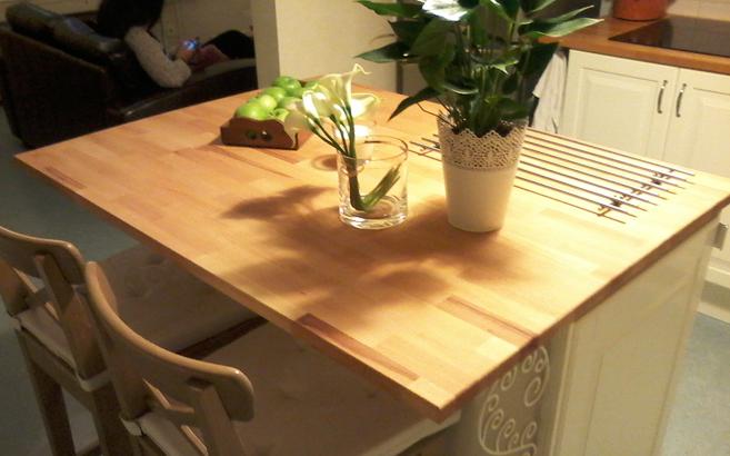 ilot de cuisine avec plan de travail en h tre le blog du bois. Black Bedroom Furniture Sets. Home Design Ideas