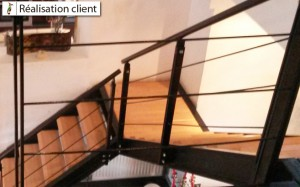 réalisation escalier avec marches biseautées inversées