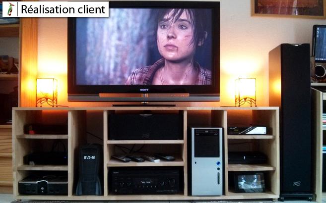 Fabriquer son meuble TV en bois  Le blog du bois -> Fabriquer Meuble Tv Sur Mesure