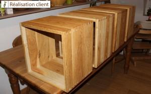 réalisation client - cubes de rangement en chêne