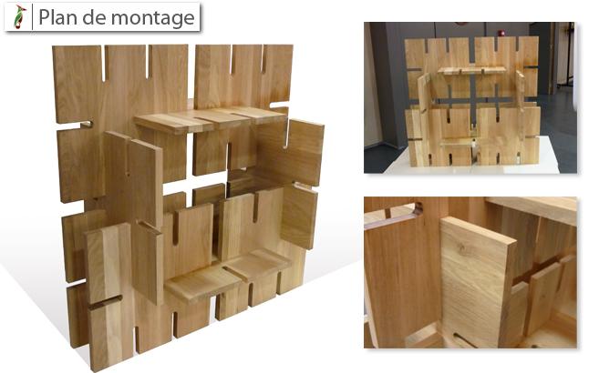 plan de montage étagère Totem bois massif