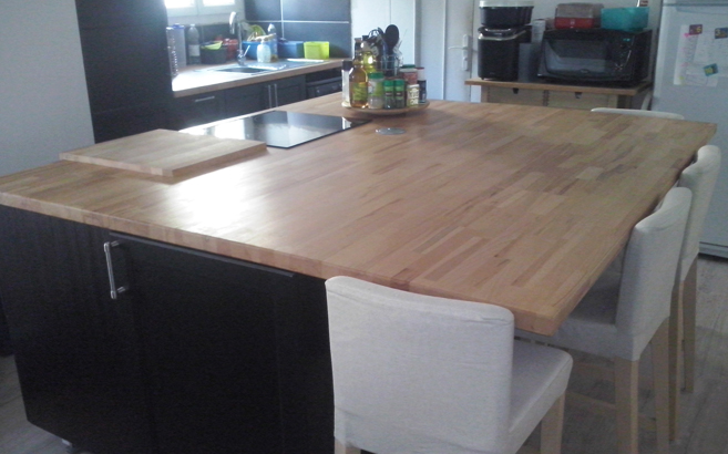 R novation de cuisine avec plans de travail en h tre for Amenagement cuisine handicape
