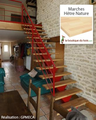 Réalisation escaliers bois massif métal